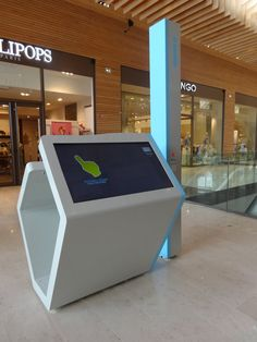 For a shopping located in France, the PARTTEAM & OEMKIOSKS group produced a multitouch double-sided kiosk (interactive directory), with an additional column for printer and barcode scanner. Interaktives Design, Kiosk Design, Signage Design, Stand Design, Display Design, Booth Design, Graphic Design, Digital Kiosk, Digital Signage