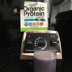 Blueberries, almond milk and Orgain Protein Powder makes for a good start to the day. #whatwegain #contest #inspiringkitchen #proteinshake #almondmilk #vitamix