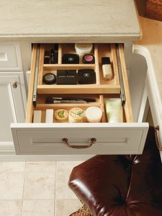 Organize your make-up with the Vanity Cosmetic Drawer Two-Tiered Wood Organizer by Thomasville Cabinetry.