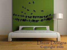 Birds Around A Wire Vinyl Wall Decal Sticker