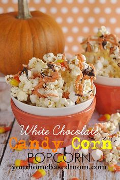 White Chocolate Candy Corn Popcorn  @yourhomebasedmom.com Popcorn Snacks, Popcorn Recipes, Snack Recipes, Popcorn Mix, Flavored Popcorn, Candy Corn, Fall Recipes, Holiday Recipes, Holiday Foods