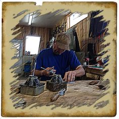 The Wild Man, Larry Sandvick, 12 X NFR Qualifying Bareback Rider, hard at work in the Wild Man Riggins shop, layering rawhide on handles for his patented Wild Man Bareback Riggins