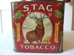 VINTAGE STAG TOBACCO FOR PIPE & CIGARETTE TIN P. LORILLARD CO. JERSEY CITY, NJ