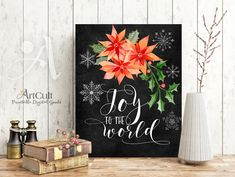 """Printable artwork wall Art digital download bible verse """"Joy to the world"""" Christmas quote print for Home and office decoration by ArtCult by ArtCult on Etsy"""
