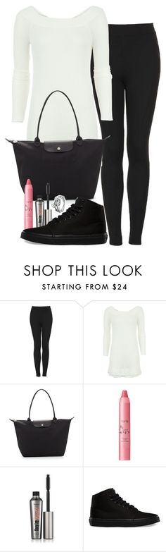 """Untitled #2997"" by abigailtaylor ❤ liked on Polyvore featuring Topshop, Free People, Longchamp, tarte, Benefit, Vans and Pandora"