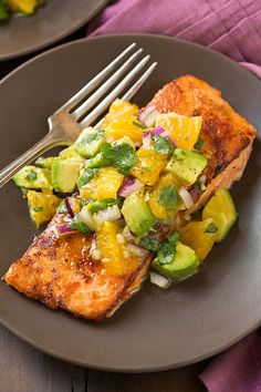 Frugal Food Items - How To Prepare Dinner And Luxuriate In Delightful Meals Without Having Shelling Out A Fortune Honey Glazed Salmon With Citrus Avocado Salsa Fish Recipes, Seafood Recipes, Cooking Recipes, Healthy Recipes, Healthy Habits, Avocado Recipes, Food52 Recipes, Vegetarian Recipes, Clean Eating Snacks