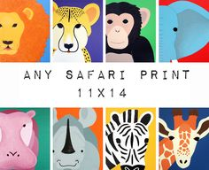 Safari nursery art. Safari animal prints. 11x14 modern picture for baby  child, art, zoo for kids rooms and playrooms in purple and yellow