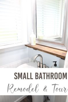 I couldn't be happier with how our small bathroom remodel turned out.  By doing everything myself I was able to save a lot of money.  This bathroom remodel came in under $500 with purchasing a new pedestal sink, flooring, window treatment, and all of the lumber. Diy Bathroom Decor, Bathroom Styling, Bathroom Interior Design, Bathroom Ideas, Diy Home Decor, Over The Toilet Cabinet, Very Small Bathroom, Sink Shelf, Small Space Storage