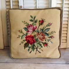 Embroidered Tapestry Pillow Accent Pillow shabby chic victorian country cottage garden pillow by TheCookieClutch, $28.00