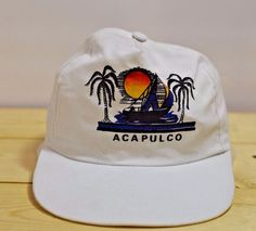 Acapulco Resort Hat Vintage Cap Vacation Tourist Sailboat Sunset Palm Tree White #AcapulcoHat #Cap #VacationHat