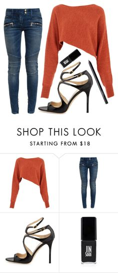 """""""Untitled #1568"""" by moria801 ❤ liked on Polyvore featuring Crea Concept, Balmain, Jimmy Choo, JINsoon and NARS Cosmetics"""