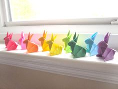 Rainbow Origami Bunnies    Shop owner: bluepandemonium      Coquitlam, British Columbia,      Canada