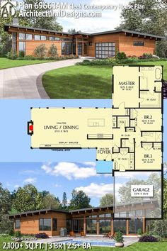 Architectural Designs House Plan 69663AM gives you 3 beds, 2.5 baths and around over 2,100 sq.ft. of heated living space. Ready when you are. Where do YOU want to build? #69663AM #adhouseplans #architecturaldesigns #houseplan #architecture #newhome #newconstruction #newhouse #homedesign #dreamhome #dreamhouse #homeplan #architecture #architect #housegoals #Modernhome #modernhouse