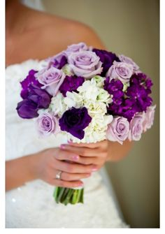 Bridesmaids Bouquets - Different colors of Purple with some white
