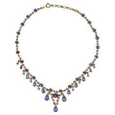 Buy Alice Joseph Vintage 1950s Gilt Plated Diamante Necklace, Blue Online at johnlewis.com
