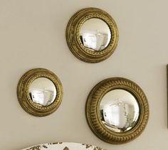 "Gold Gilt Mirrors, Set of 3, 8"", 10.25"", 12.5"", $119. #potterybarn"