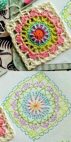 67 Ideas crochet granny square pattern ideas colour for 2019 Motif Mandala Crochet, Crochet Doily Diagram, Crochet Beanie Pattern, Crochet Motifs, Granny Square Crochet Pattern, Afghan Crochet Patterns, Crochet Squares, Crochet Chart, Knit Crochet