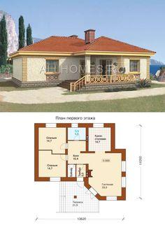 Проект одноэтажного кирпичного дома с террасой