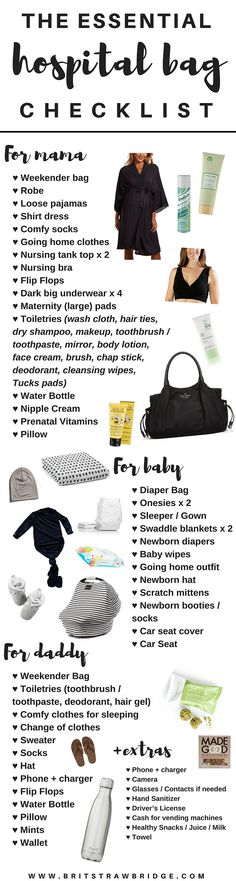 Essential Hospital Bag Guide + Checklist The Essentials Hospital Bag Checklist for mama, daddy & baby.The Essentials Hospital Bag Checklist for mama, daddy & baby. Getting Ready For Baby, Preparing For Baby, Baby Boys, Carters Baby, Baby Checklist, Pregnancy Hospital Bag Checklist, Hospital Bag For Baby, Hospital List, Hospital Bag For Delivery