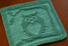 Ravelry: Owl Always Love You Dishcloth pattern by Kelly Montag Owl Knitting Pattern, Knitted Dishcloth Patterns Free, Knitted Washcloths, Crochet Dishcloths, Knitting Patterns Free, Crochet Patterns, Free Pattern, Knitting Blocking, Knitting Squares