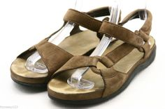 Teva womens sandals shoes size 9 sport sandals brown Leather flats ankle strap @eBay