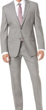 Light gray Alfani suit matched with a salmon colored tie!