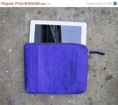 ON SALE Neon Purple Python Snakeskin Zippered Leather by linmade, $102.00