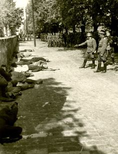 This is one of the most widely circulated photos of Nazi war crimes. A German army officer delivers finishing shots to executed hostages in Pancevo, Yugoslavia. Contrary to postwar claims, the regular German army was as deeply involved in the death of civilians as the SS and other murderer formations.