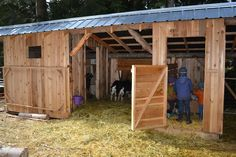 room on right to house feed. room on left to milk;; floor would be elevated concrete with drainage for cleaning.