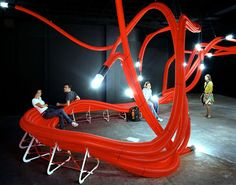 Installation of sculptural furniture made of flexible polyethylene tubes by Sebastien Wierinck