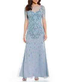 Adrianna Papell Round Neck Beaded Short Sleeve Gown