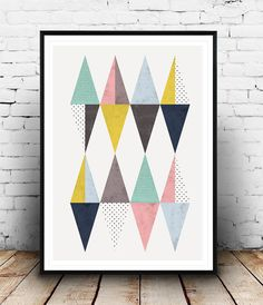 Affiche de triangle, affiche scandinave, Triangles impression, design moderne, design impression et nordique de diamant, points, art géométrique, aquarelle, décor