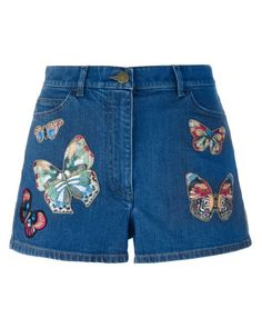 61839e23efd1c Valentino | Blue Embroidered Appliquéd Stretch-denim Shorts | Lyst Blue Jean  Shorts, Denim