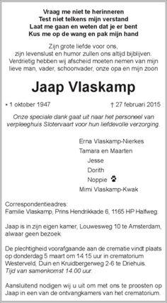 Jaap Vlaskamp : Rouwberichten