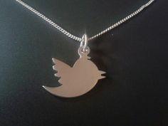sterling silver twitter bird pendant 25mm x 20mm handmade 925, £14.99
