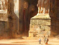 Desert Temple, Damian Audino on ArtStation Fantasy City, Fantasy World, Art And Illustration, Desert Temple, Art Environnemental, Fantasy Setting, Matte Painting, Environment Design, Fantasy Landscape