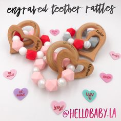 Engraved name Valentine's Day teether rattles Little Valentine, Valentines Day Hearts, Fairy Tales For Kids, Eco Friendly Toys, Best Baby Shower Gifts, Personalized Baby Gifts, Handmade Gifts, Kids Board, Baby Teethers