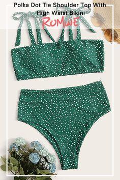 Polka Dot Tie Shoulder Top With High Waist Bikini Search ID:454215 Cute One Piece Swimsuits, Best Swimsuits, Women Swimsuits, Vintage Swimsuits, Bikini Vintage, Bikini Retro, Polka Dot Bikini, Floral Bikini, Polka Dots