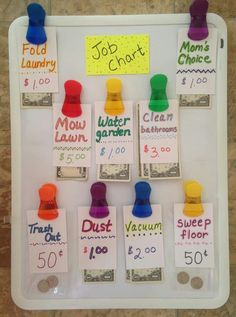 Job chart!  Smart and great way to get a child on their way to independence