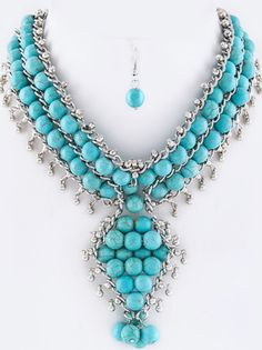 Turquoise Layered Beads Fringe Necklace Set