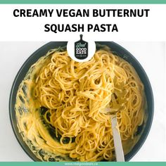 This Creamy Vegan Butternut Squash Pasta is simple to make and delicious! The puréed roasted butternut squash sauce contains no dairy or nuts, making it perfect for anyone with food allergies or intolerances. Plus, it's so creamy you would never guess it's made of vegetables! #veganpasta #pastarecipe #plantbased #healthydinner Butternut Squash Pasta Sauce, Lentil Pasta, Roasted Butternut Squash, Healthy Pasta Recipes, Healthy Pastas, Easy Healthy Dinners, Nut Free, Dairy Free, Roasted Lentils