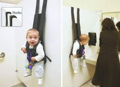 wow a new solution to what to do with baby when mom has to visit the restroom while shopping.