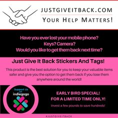 Have you ever lost your mobile phone? Keys? Camera? Would you like to get them back next time?  This product is the best solution for you to get back your lost items anywhere around the world!  It's now available on IndieGoGo! Grab your Early Bird. Invest a few pounds to save hundreds!  #justgiveitback #LostItems #Safety #Findlostitems #crowdfunding