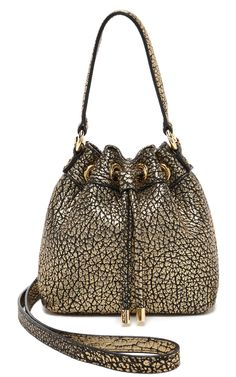 Milly Astor Metallic Lambskin Drawstring Petite Bucket Bag