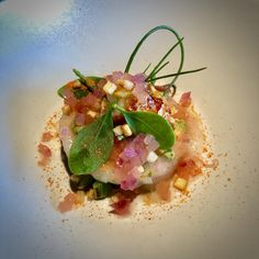 Langoustine, tartare and savory French Toastwith Pickled Onion and Guavadressing @Aan de Poel**, Amstelveen