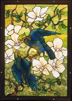 Designed by Louis Comfort Tiffany (American, New York 1848–1933 New York); Made by Tiffany Studios (1902–32). Hibiscus and Parrots, ca. 1910–20. The Metropolitan Museum of Art, New York. Gift of Earl and Lucille Sydnor, 1990 (1990.315)