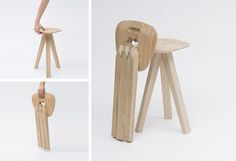 Three-legged super strong folding stool! Can be folded up and stored away easily.