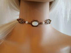 Halskette Choker Collier Halsband Kropfband weiss und von Ravennixe