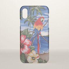 Colorful Macaws Hawaiian Beach Summer Scene iPhone X Case - elegant gifts gift ideas custom presents