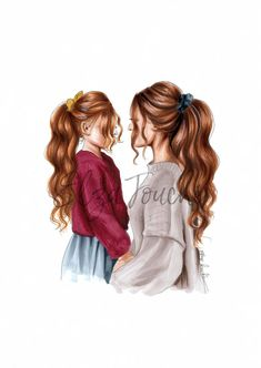 Mother and daughter - fashion illustration - mother and child - mom and daughter - gifts for her - birthday gift idea - fashion print - Mum Mother And Daughter Drawing, Mother Art, Mother And Child, Fashion Artwork, Fashion Prints, Girly M, Girly Girl, Best Friend Drawings, Different Hair Colors